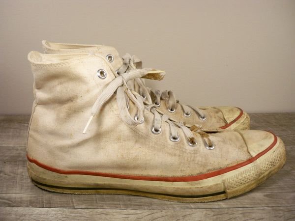 Vintage Converse All Star High Top Tan Canvas Mens Sneakers Shoes Hipster Kicks 12