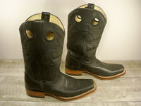 Los Altos Black Leather Punchy Buckaroo Pull On Cowboy Western Boots Size 7.5
