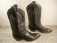 Vintage Larry Mahan Black Leather Women's Cowboy Western Boots Booties 7.5