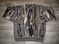 Vintage Protege 1990's Abstract Hip Hop Biggie BIG 3D Textured Men's Sweater Large Tall