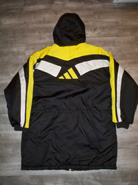 Vintage Adidas Coat Winter Parka Yellow & Black Trefoil Logo 90s Jacket Size XLarge