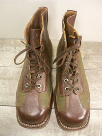 Vintage WWII WW2 Swedish Soldiers Marching/Ski Hiking Leather Boots Size 9.5