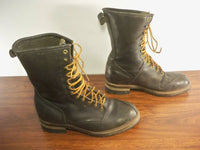 Vintage Black Leather Men's Shoes Engineer Motorcycle Boots Sears Soft Toe 70s 80s Size 11 Wide