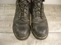 Vintage Dated 80's Combat Trench Steel Toe Military Biker Men's Black Leather Boots Made in the USA Size 10