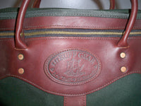 Ruff Gear Battenkill Leather & Green Canvas Portfolio Laptop Soft Briefcase Shoulder Bag Made in USA