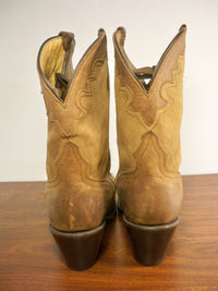 Womens J B Dillon JBW5100 Brown Goat Skin Leather Cross Western Cowboy Boots Size 9.5