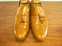 Vintage Florsheim TASSEL WINGTIPS Slip On Leather Loafers Shoes Men's Size 7.5