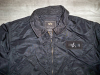 Vintage Alpha Industries Flight Black Nylon Bomber Jacket Coat Men's Size Medium