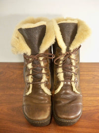 BORN Winter Boots Brown Women's Leather Shearling W6477 Lugano Sherpa Size 9