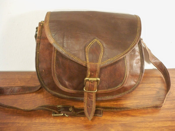 Vintage Brown Leather Shell Messenger Cross Body Hunting Ammo Shoulder Bag