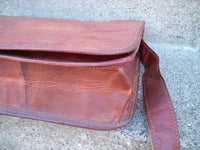 Vintage Thick Leather Brown Scholar Lawyer Messenger Cross Body Shoulder Bag Pack