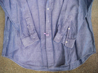 "Vintage Ralph Lauren ""Blake"" Herringbone Cotton Work Shirt Men's Size Large LG"