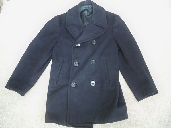 1970 Vintage US Navy Blue Wool Enlisted Peacoat Vietnam Era 1970s Jacket Sz 36 R