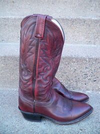 Vintage Dan Post Maroon Leather Cowboy Men's Western Rancher Riding Boots Size 7