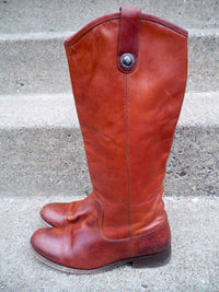 Frye #77167 Melissa Button Leather Women's Motorcycle Riding Biker Boots Size 6