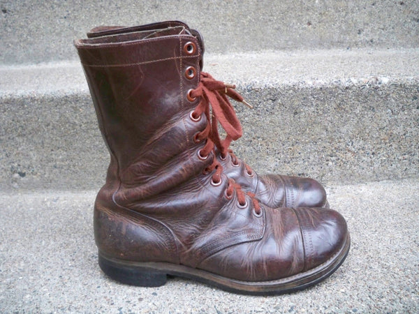 Post WWII US ARMY PARATROOPER CAP TOE JUMP MEN'S LEATHER BOOTS Size 9