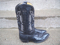 Vintage Nocona Black Leather Riding Cowboy Western Pull On Men's Boots Size 10 W