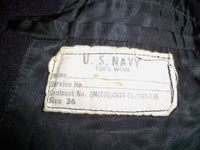 Vintage US Navy Vietnam Nam Men's Pea Coat Wool Stencil Military PeaCoat Jacket 36