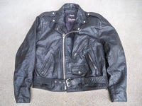 Vintage Wilsons Leather Men's Black Chopper Motorcycle Riding Jacket Size XLarge