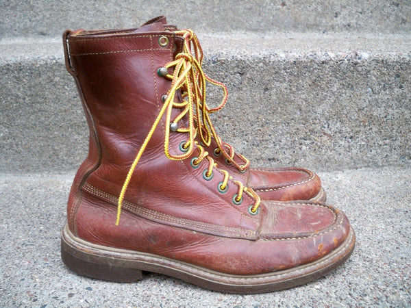 Men's Brown Leather Cork Sole Working Hunting Work Boots Vintage Size 6.5 Wide