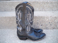 Vintage TONY LAMA #2914 Black Leather Cowboy Mens Western Rancher Boots Size 8.5