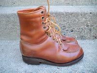 Vintage Montgomery Wards Blue Brand Brown Sport Hunting Leather Work Men's Boots 6
