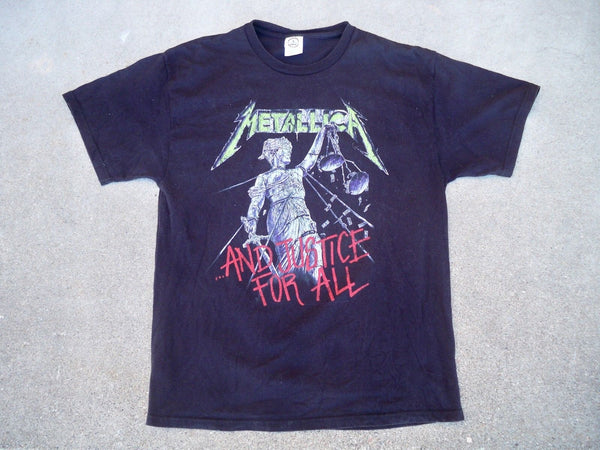 METALLICA & Justice For All Retro T Shirt T-Shirt Heavy Metal 90s Band Rock LG