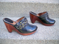 Frye #70501 Donna Buckle Leather Harness Biker Womens Mules Clogs Shoes Size 7.5
