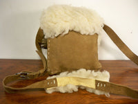 Vintage Handmade Shearling Sheepskin Leather Cross Body Shoulder Purse Handbag