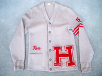Vintage 50s Rockabilly Varsity Letterman Sweater Knit High School Jacket Large