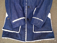 Vintage JcPenney Sherpa Blue Mens Denim Trucker Barn Button Hipster Size Medium Long