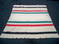 "Vintage 1920s Hudson's Bay Made in England Wool 3.5 Point Wool Cabin Blanket 72""X64"""