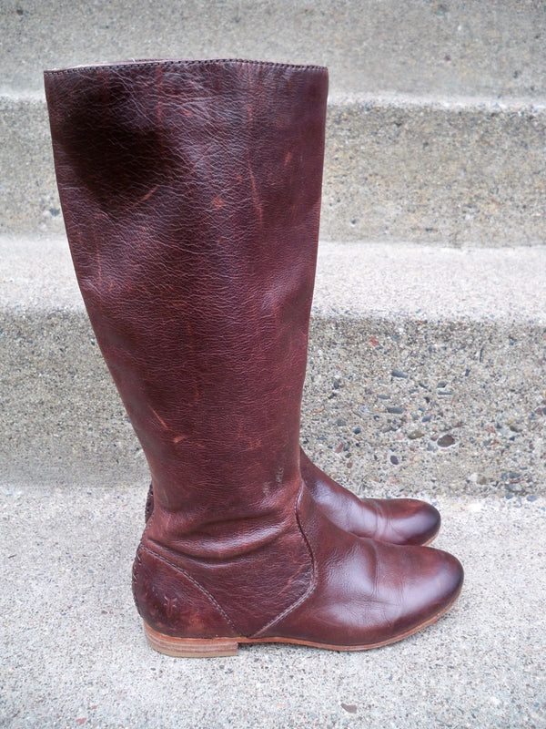 $348 Frye #76010 Jillian Pull On Tall Brown Leather Womens Riding Boots Size 5.5