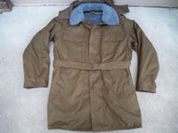 Vintage Czech Drab Army Field Jacket Parka Military Sherpa Lined Overcoat Men's LG