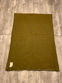Vintage Super Soft Post WWII Wool Olive Drab BLANKET US Army Field Gear 82 X 62""