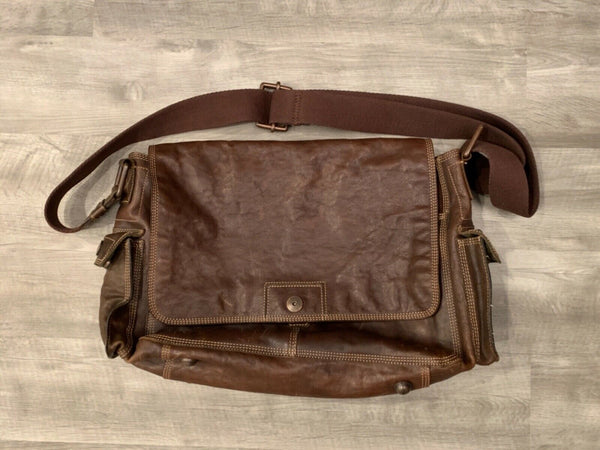FOSSIL Vintage Reissue Brown Leather Crossbody Messenger Shoulder Laptop Bag