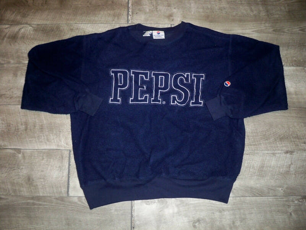 Vintage Pepsi Sweatshirt Blue Men's Pullover Fleece Sweater Spell Ou  Size Small