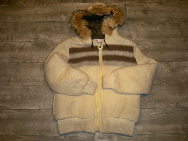 Vintage Gemini Parka Womens Fur Hoodie Eskimo Striped Wool Blanket Coat Jacket Size 14