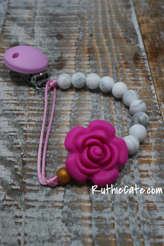 Deep Pink Rose | Paci Clip + Teether Tether