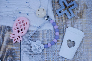 Lilac + Marble Rose || Paci Clip + Teether Tether
