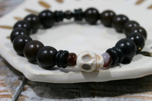 Nolan Stretch Bracelet | Buri Root Beads