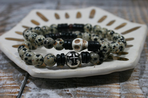 Johnny & Juanita Stretch Bracelet | Dalmatian Jasper Beads
