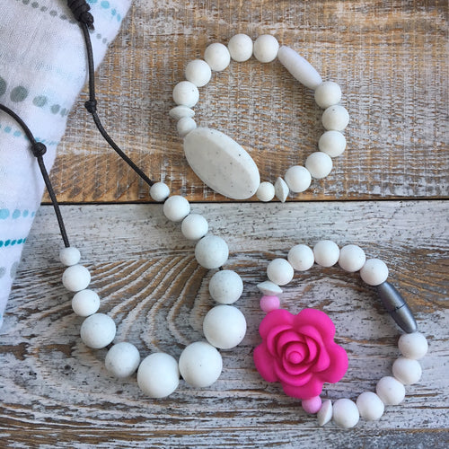 Rylan Soft Necklace + Bracelet Set | Silicone Chewy Set for Mamas