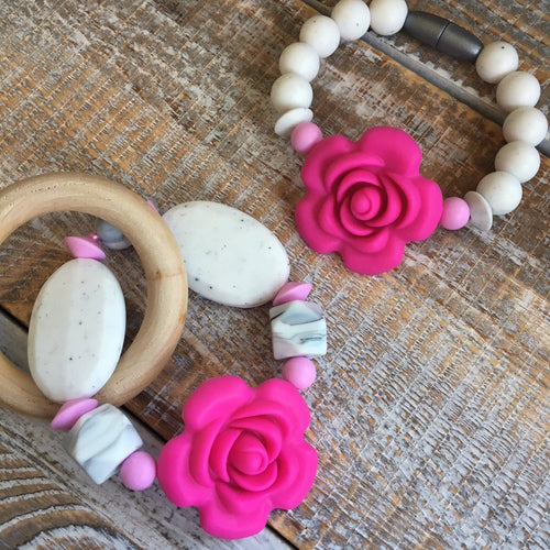 Rosie-Girl Mommy & Me Set | Simple Loop Teether + Bracelet