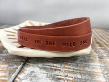WALK ON THE WILD SIDE : hand-stamped & dyed double-wrap leather cuff
