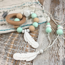 Vanessa Feather Necklace in Speckle + Mint || Silicone Chewy Necklace for Women