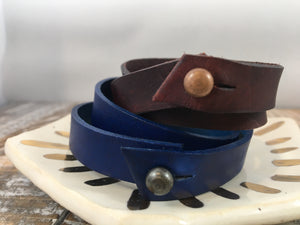 TOTUS TUUS : hand-stamped & dyed double-wrap leather cuff