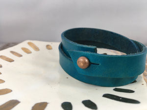 GOOD VIBES ONLY : hand-stamped & dyed double-wrap leather cuff