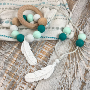 Feather Teether in Mint + Emerald