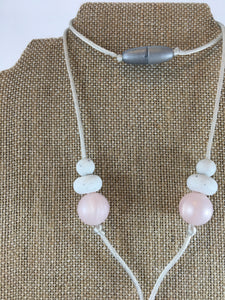 Vanessa Feather Necklace in Pink Pearl || Silicone Chewy Necklace for Women